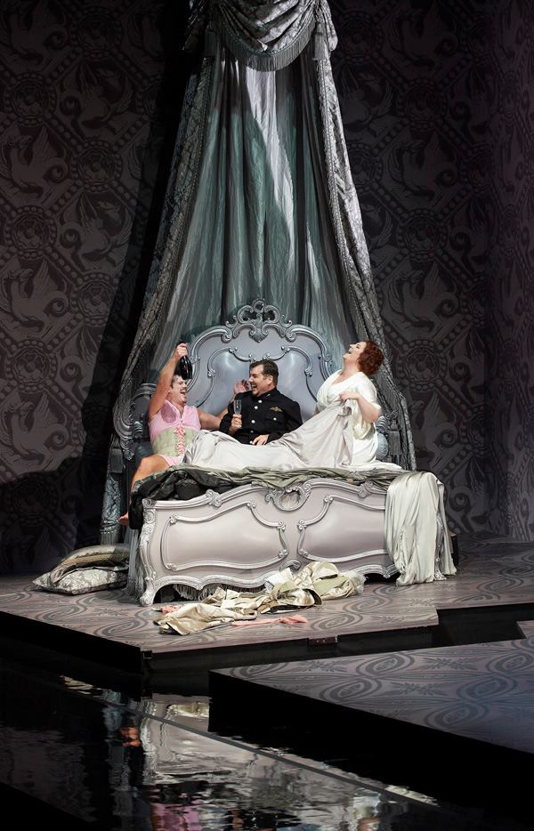 David Pomeroy as Alfred, James Westman as Frank and Tamara Wilson as Rosalinde. photo credit: Michael Cooper.