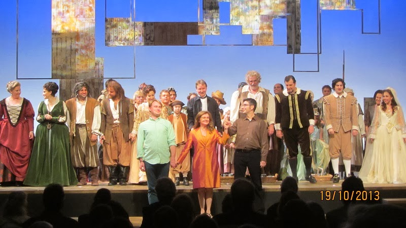 The creative team takes a bow front and center (l. to r. Paul Cegys, Allison Grant, Troy Hourie) Photo: Joseph So