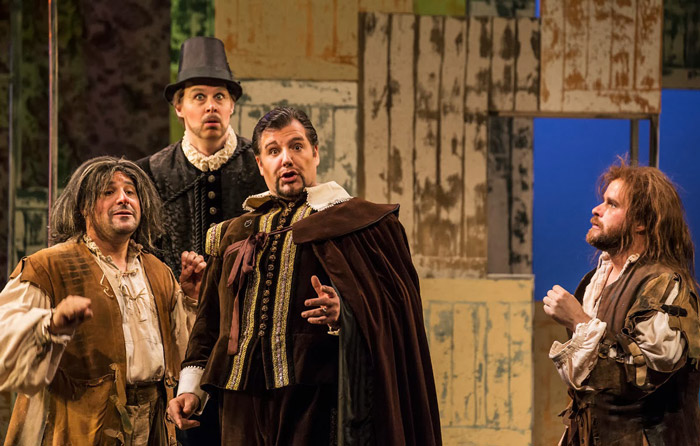 James Westman (Ford) with Bardolfo (Jeremy Blossey), Dr. Caius (James McLennan) and Pistola (Jon Paul Decosse) Photo: John Overmeyer